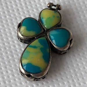 Jewelry - Vintage sterling silver Gemstone? Cross pendant